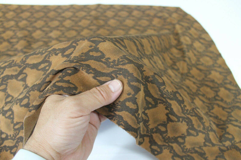 BROWN SNAKE PRINT Italian calfskin calf cow leather skin hide 5sqf 1.0mm #A6452