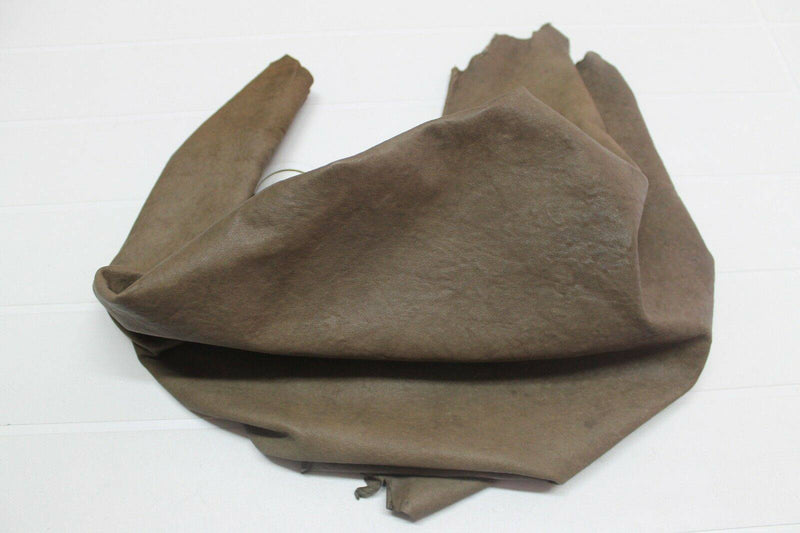 Italian soft Lambskin leather skin WASHED RUSTIC ANTIQUED BROWN OLIVE #A68  6sqf