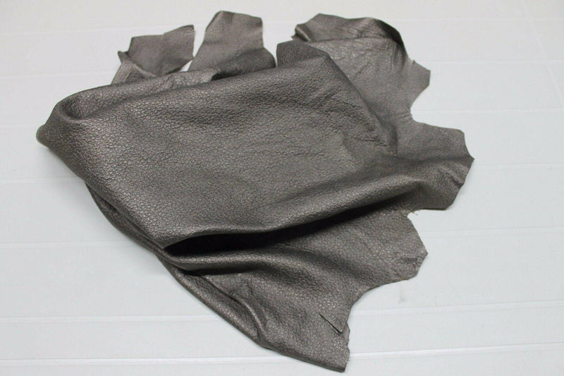Italian Thick Goatskin leather skin skins hide hides GRAINY PEWTER 4+sqf #A2083