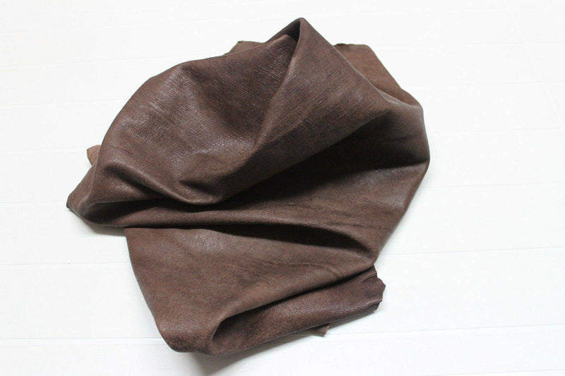 thick Lambskin leather skins WASHED RUSTIC ANTIQUED BROWN MICRO LINES CUT 8sqf