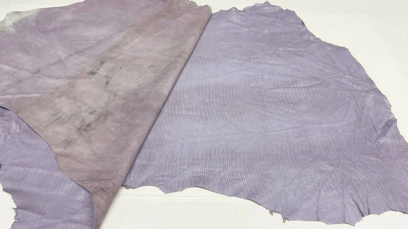 TEJUS REPTILE LILAC texture Italian Lambskin leather 2 skins 14sqf 0.8mm #A7251