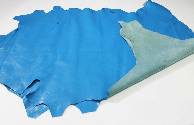 SHINY BLUE CRINKLE crinkled Italian Lambskin leather skins hides 16sqf #A4336