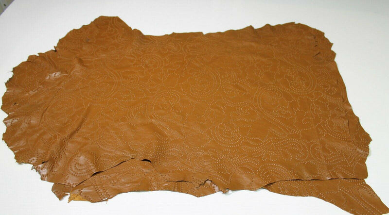 TAN BROWN TEXTURED EMBOSSED thin Lambskin leather 2 skins 14sqf 0.4mm #A5179
