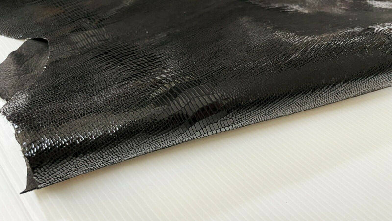 BLACK TEJUS shiny Italian Goatskin Goat leather 2 skins 6sqf 1.0mm #A7346