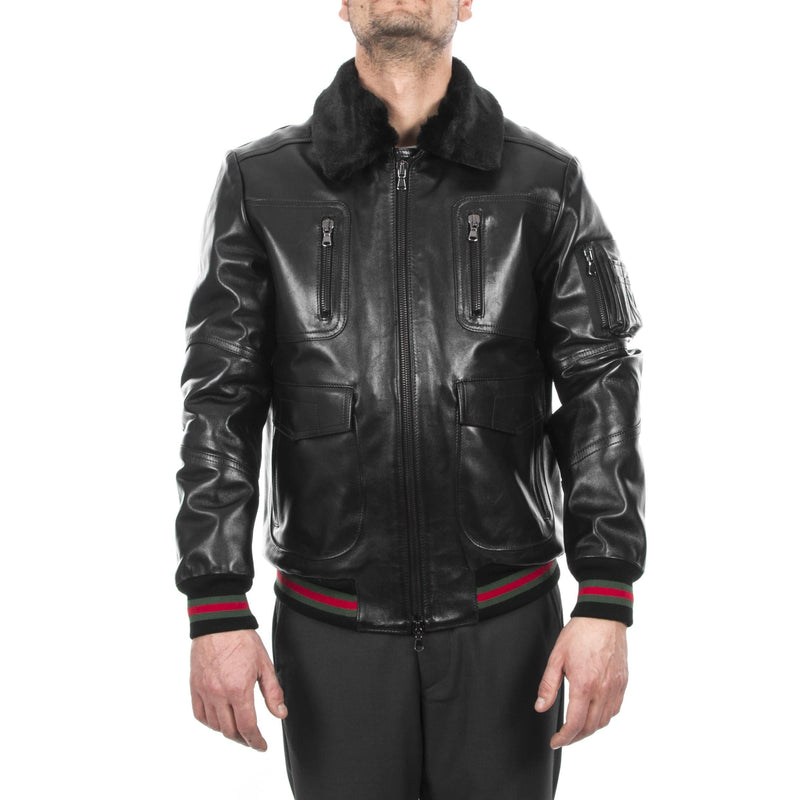 Italian handmade Men genuine lambskin Bomber leather jacket removable fur comfortable fit collar color Black S to 2XL