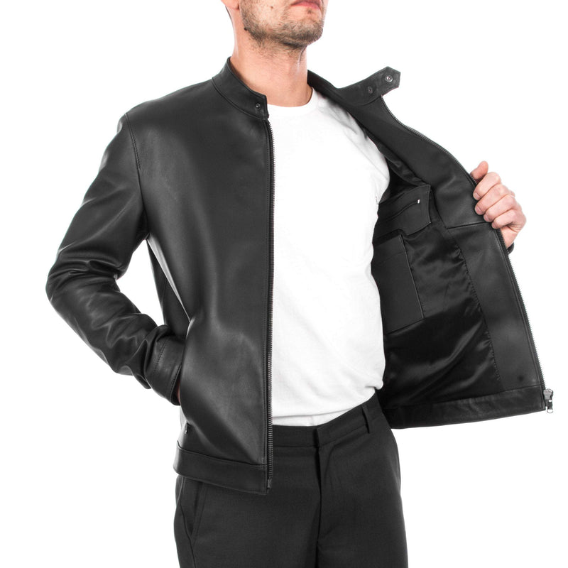 Italian handmade Fantastic slim fit Men soft genuine lambskin leather jacket color BLACK XS to 2XL