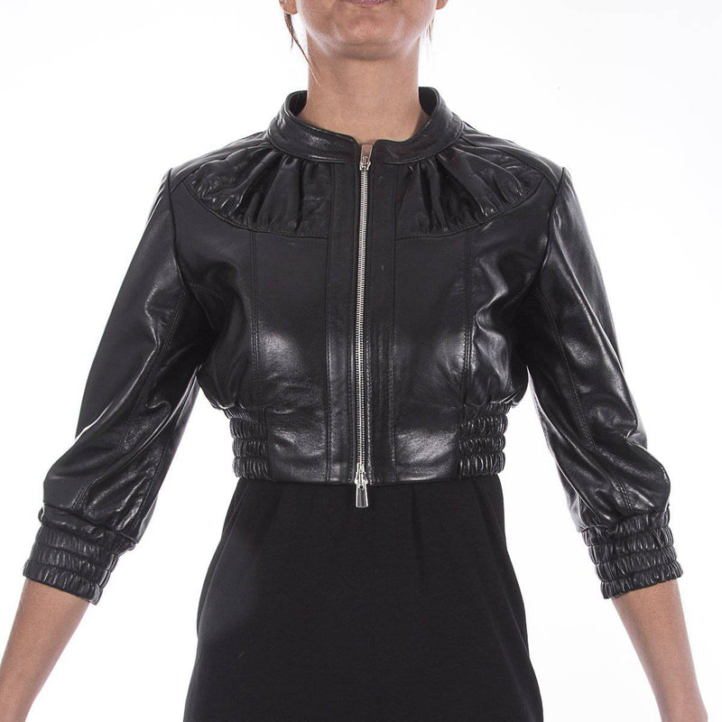 Italian handmade Women genuine leather cropped bomber jacket soft black