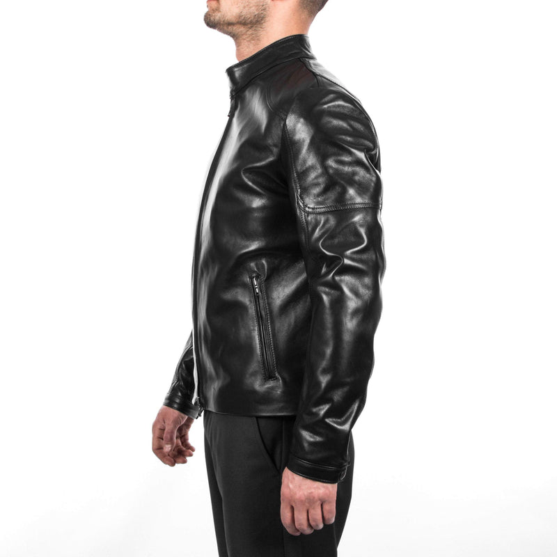 Italian handmade Men black Lamb lambskin grenuine leather biker jacket slim fit XS to 2XL