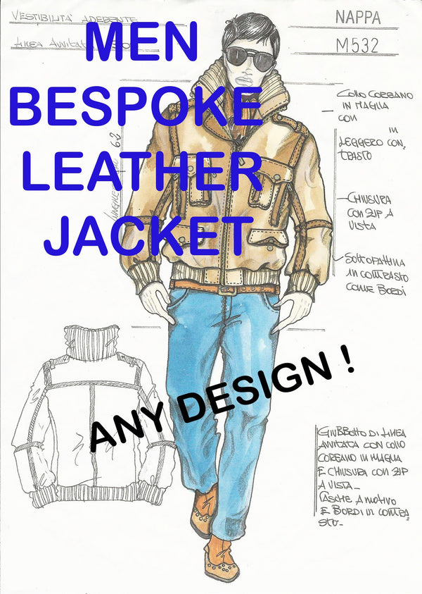 MEN LEATHER JACKET Bespoke  Made To Measure made to order Italian handmade Men genuine leather coat made in Italy custom customized order