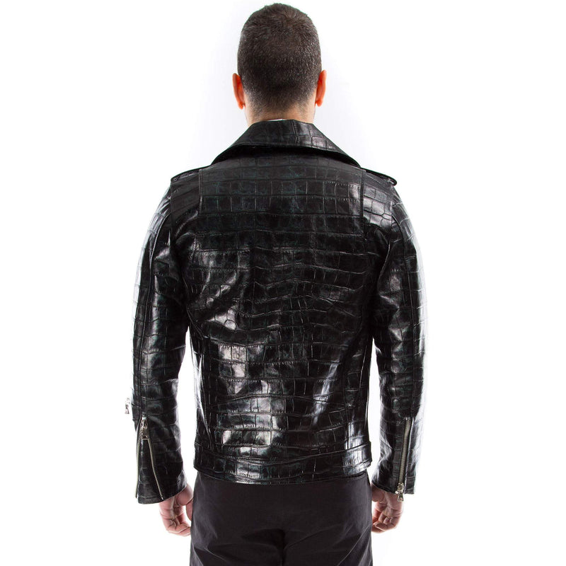 Italian handmade Men black Distressed Crocodile leather biker jacket slim fit XXS to 2XL