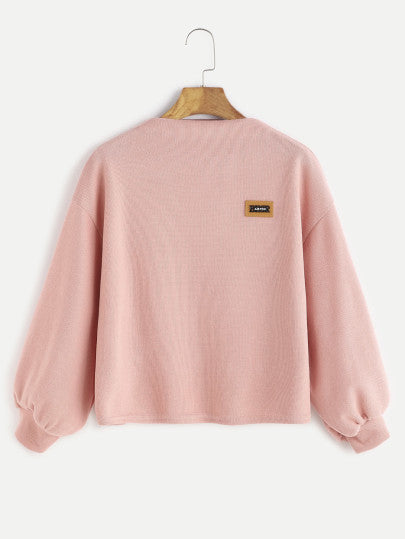 Pink Funnel Neck Drop Shoulder Lantern Sleeve