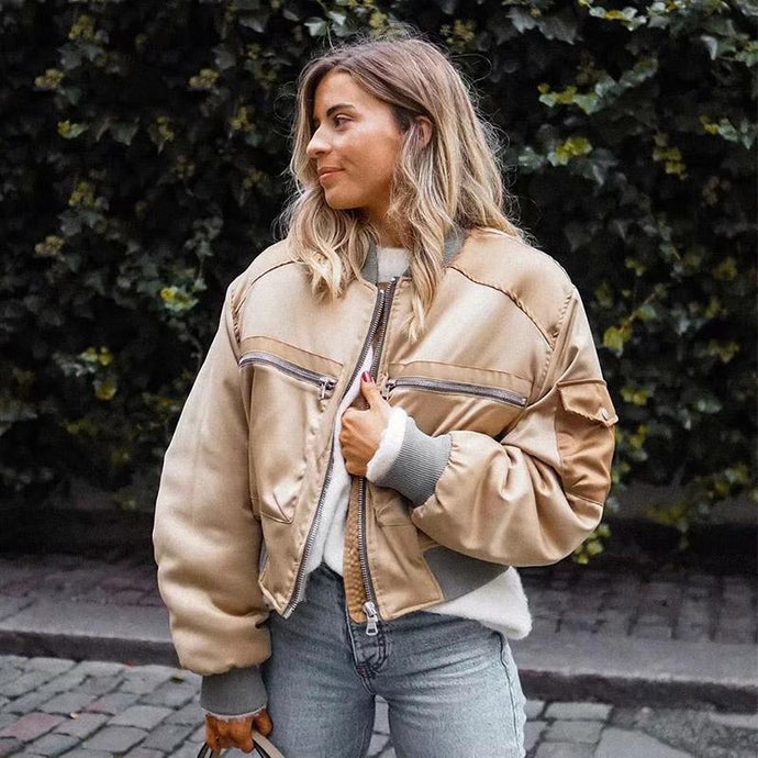 Satin Basic Bomber Jacket Streetwear Baseball Coat