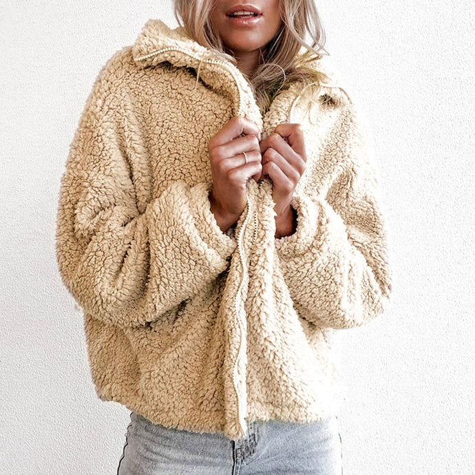 Fux Fur Teddy Winter Zipper Jacket Coat