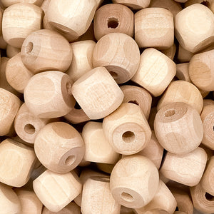 "1/2"" Rounded Square Wooden Beads"