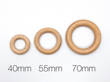 Load image into Gallery viewer, 70mm (2.76 inches) Beech Wood Rings