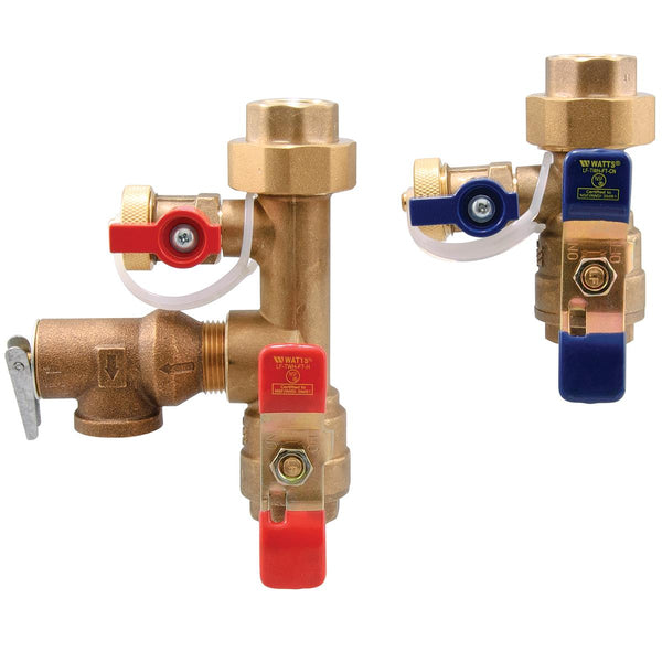 Watts LFTWH-FT-HCN-RV-PRESS 3/4 3/4 In Lead Free Tankless Water Heater Valve Set, Press Ftg End Conn, Hot And Cold Valve Set No Spring Check, 150 psi Relief Valve