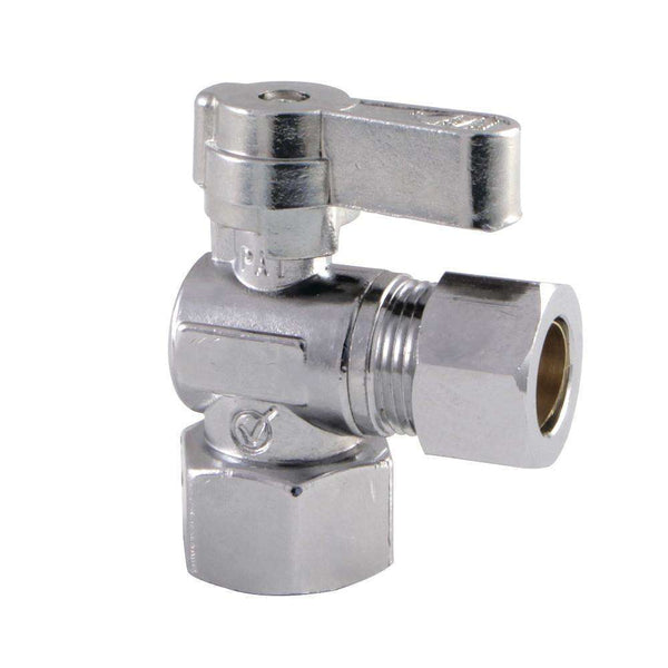 "1/2"" FIP x 1/2"" O.D. Comp Angle Shut Off Valve, Polished Chrome"