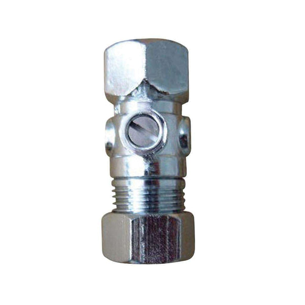 "1/2"" FIP x 1/2"" O.D. Comp Straight Shut Off Valve, Polished Chrome"