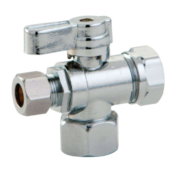 "1/2"" FIP x 3/8"" O.D. Comp x 1/2"" & 7/16"" O.D. Slip Joint Shut Off Valve, Polished Chrome"