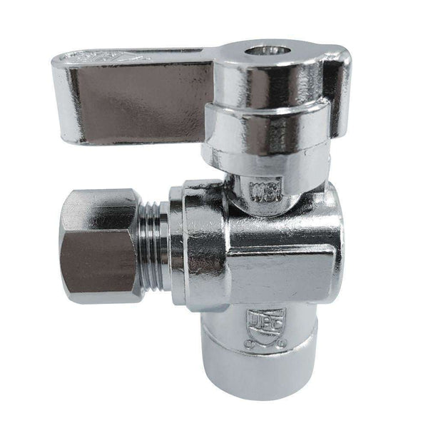 "1/2"" Sweat x 3/8"" O.D. Comp Angle Shut Off Valve, Polished Chrome"