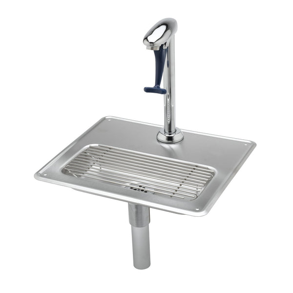 "T&S Brass B-1230-12 Water Station w/ 12"" Pedestal Glass Filler & Drip Pan Assembly"