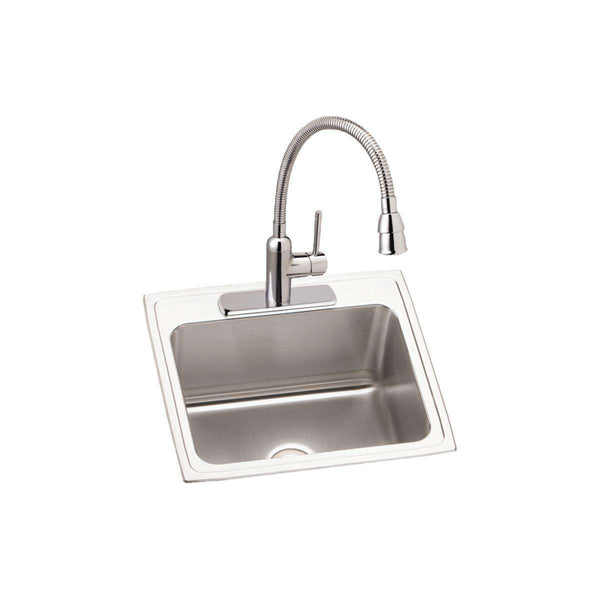 Elkay DLR252212C Lustertone SS 25 x 22 x 12.1 Single Bowl Drop-in Sinks Kit