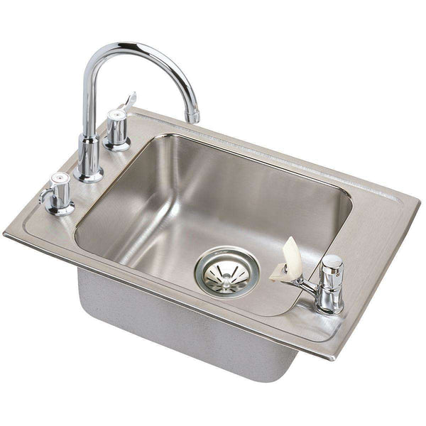 Elkay DRKAD251765FC Lustertone SS 25 x 17 x 6.5 Single Bowl Drop-in Classroom Sinks Kit