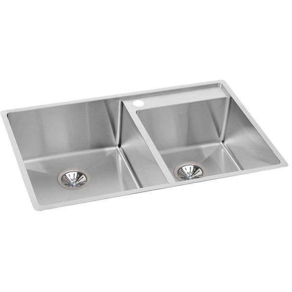Elkay ECTRUD31199RDBG0 SS 32.5 x 20.5 x 9 Offset Dbl Under MT Sinks Kit