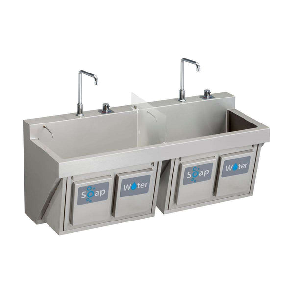 "Elkay EWSF26026KWC Stainless Steel 60"" x 23"" x 26"", Wall Hung Double Station Surgeon Scrub Sinks Kit"