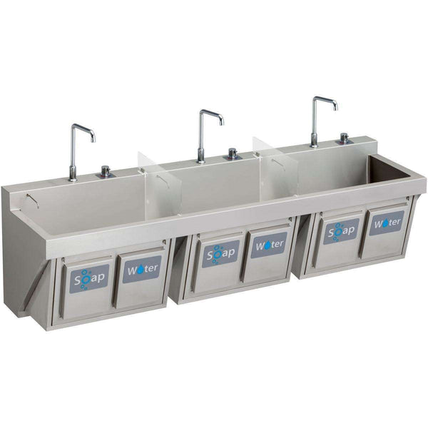 "Elkay EWSF39026KWC SS 90"" x 23"" x 26"", Wall Hung Triple Station Surgeon Scrub Sinks Kit"