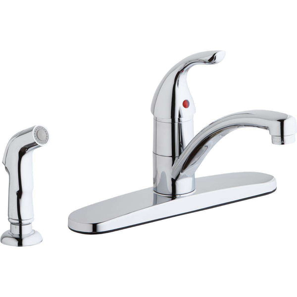 Elkay LK1001CR 4 Hole Deck Mount Kitchen Faucets Lever Handle Side Spray Escutcheon Chrome