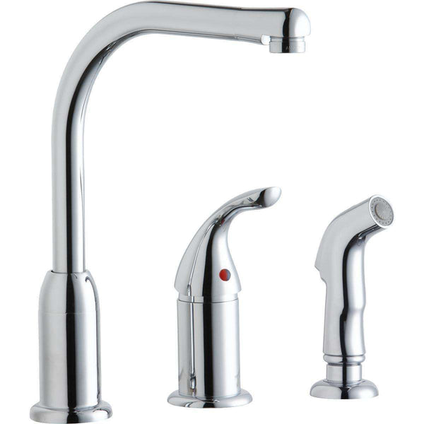 Elkay LK3001CR Everyday Kitchen Deck Mount Faucets Remote Lever Handle Side Spray Chrome
