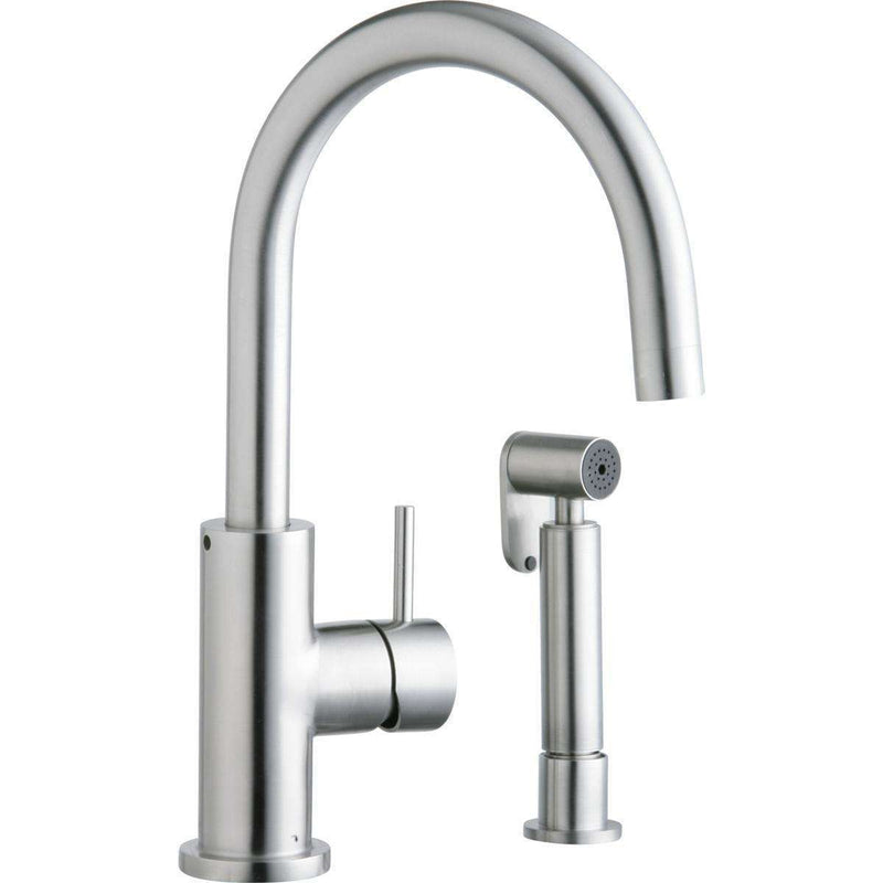Elkay LK7922SSS Allure 1 Hole Kitchen Faucets Lever Handle Side Spray Satin Stainless Steel
