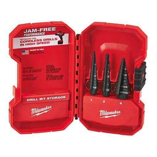 Milwaukee 48-89-9221 3pc Dual-Flute Step Bit Set (#1, #2, #4)