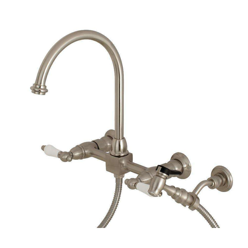 Kingston Brass KS1298PLBS Restoration 8-Inch Centerset Wall Mount Kitchen Faucet with Brass Sprayer, Brushed Nickel