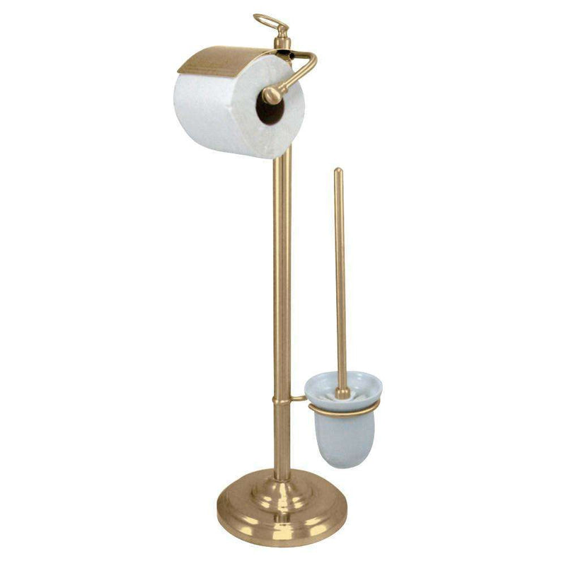 Kingston Brass CC2012 Pedestal Toilet Paper Holder Stand with Brush, Polished Brass