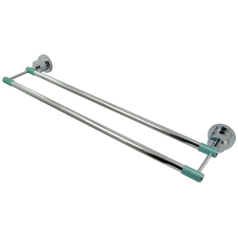 Kingston Brass BA8213CDGL Green Eden 24-Inch Dual Towel Bar with Rubber Sleeve, Polished Chrome
