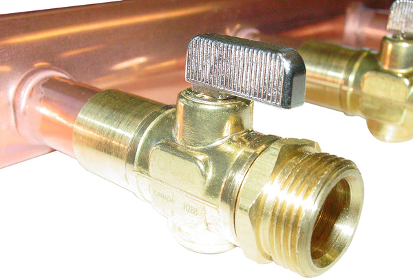"Uponor F2811220 2"" x 4' Copper Valved Manifold with R20 Threaded Ball Valves, 12 outlets"