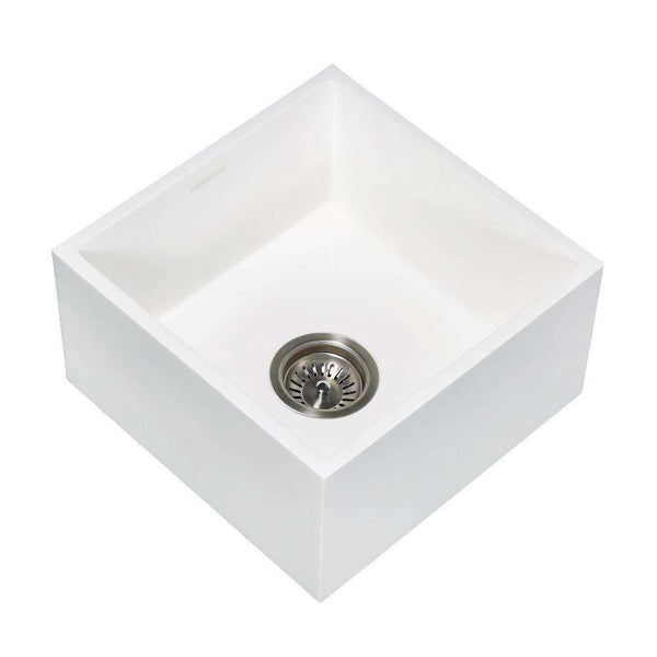 "Gourmetier GKUSA15158 Arcticstone Solid Surface Undermount 15"" Square Single Bowl Bar Sink with Drain, Matte White"