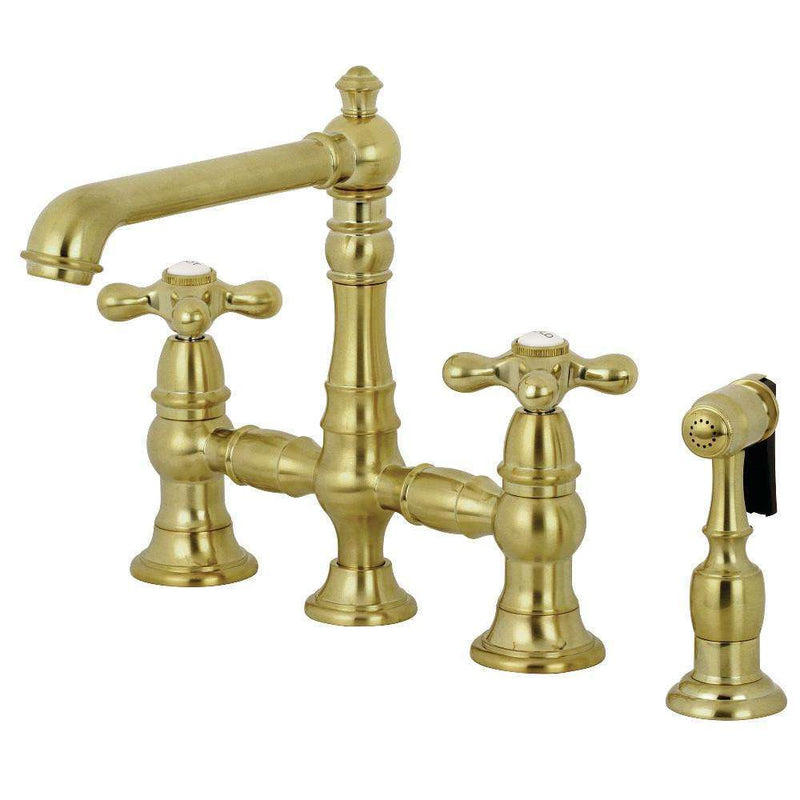 "Kingston Brass KS7277AXBS English Country 8"" Bridge Kitchen Faucet with Sprayer, Brushed Brass"