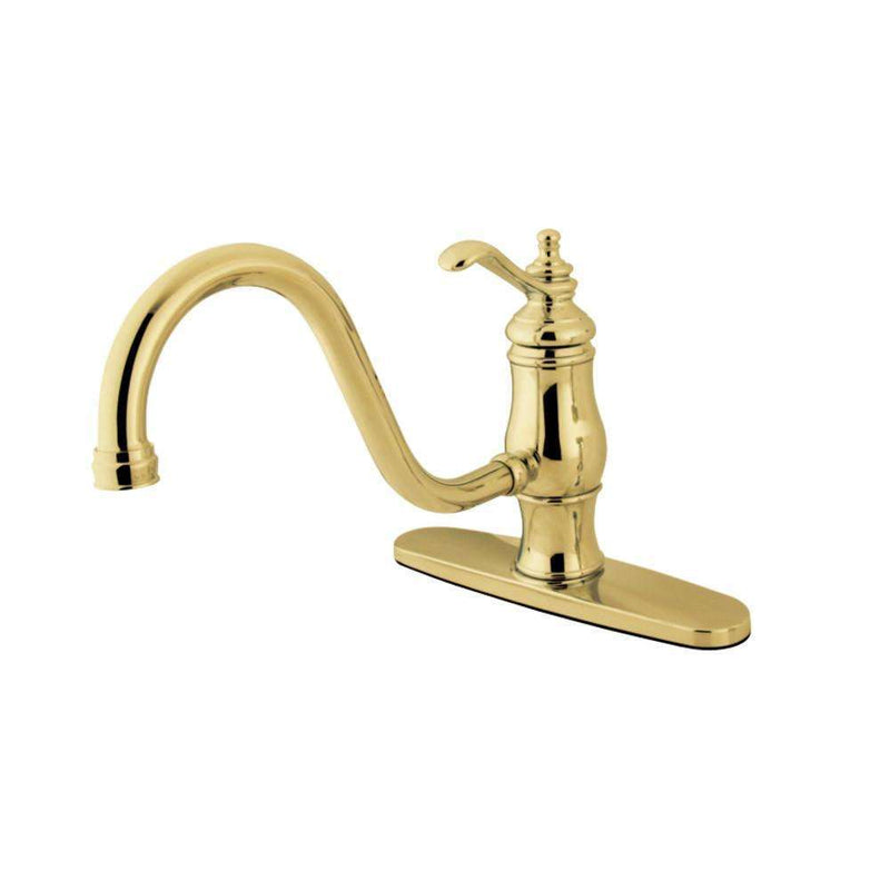 "Kingston Brass KS1572TLLS Heritage 8"" Single-Handle Kitchen Faucet Without Sprayer, Polished Brass"