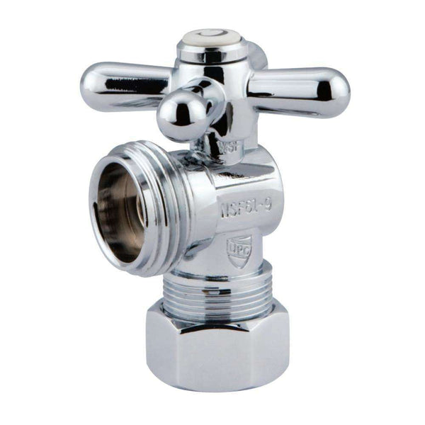 "Kingston Brass CC12001X 5/8"" O.D. Compression, 3/4"" Hose thread Angle Shut-off Valve, Polished Chrome"