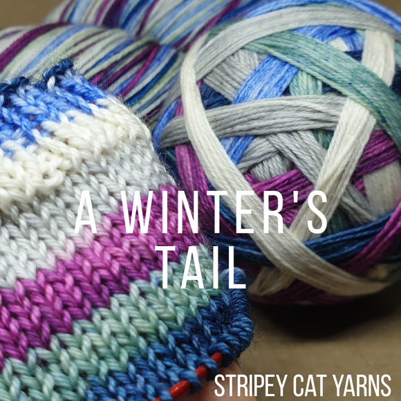 A Winter's Tail self striping sock yarn with optional 20g mini skein