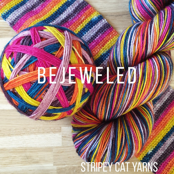 Bejeweled self striping sock yarn with optional 20g mini skein