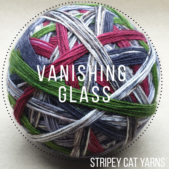 Vanishing Glass self striping sock yarn with optional 20g mini skein