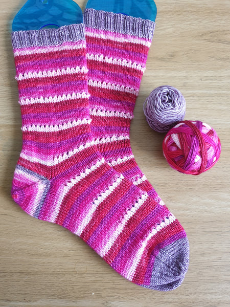Cupid's Bow self striping sock yarn with optional 20g mini skein