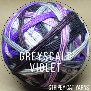 Greyscale Violet self striping sock yarn with optional 20g mini skein