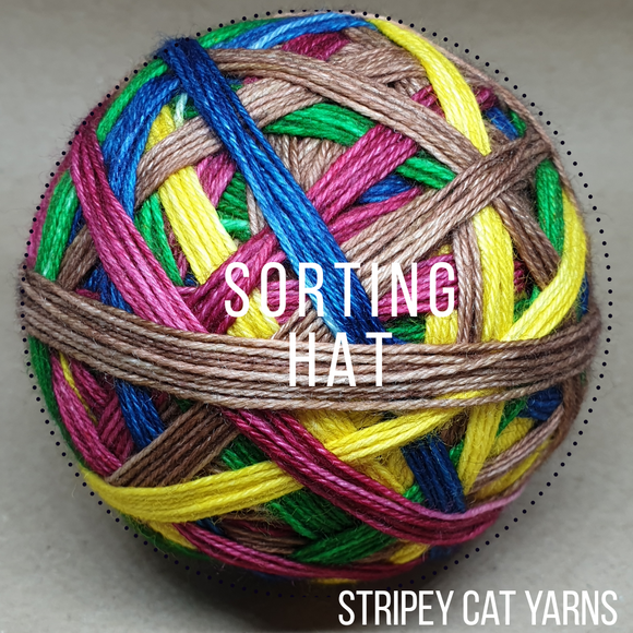 Sorting Hat self striping sock yarn with optional 20g mini skein