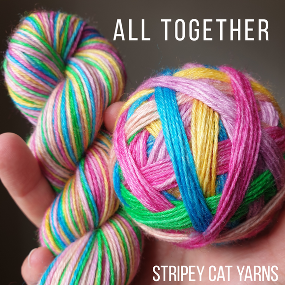 All Together self striping sock yarn with optional 20g mini skein