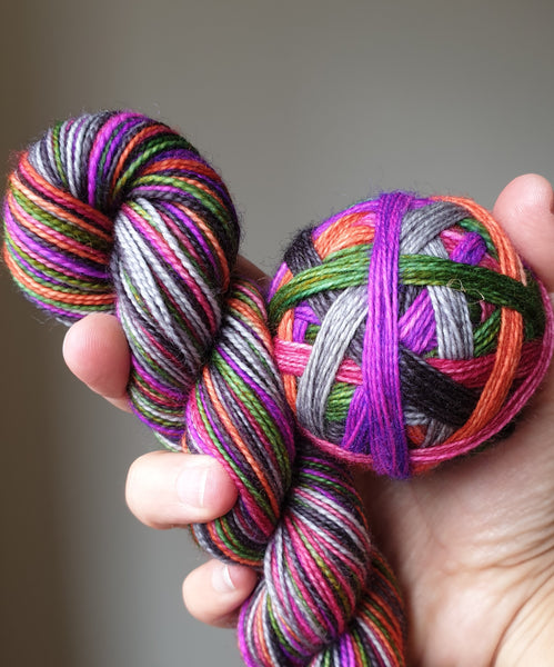 Spice of Life self striping sock yarn with optional 20g mini skein